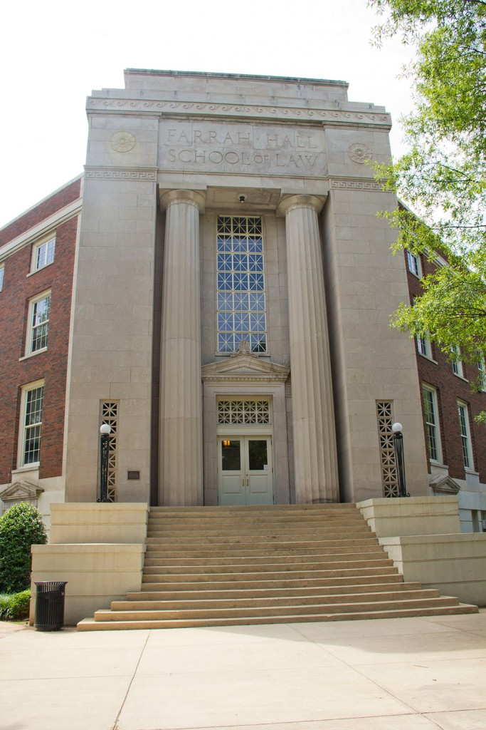 Farrah Hall, a brick building with a marble entrance