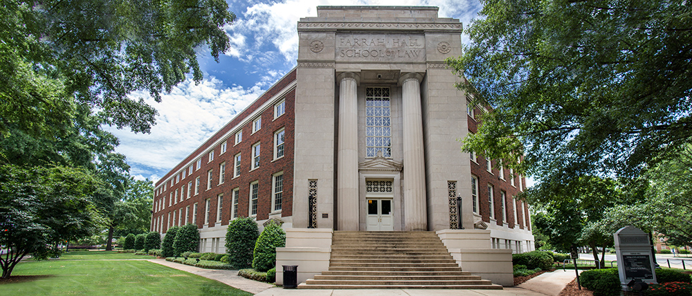 Farrah Hall, a brick building with an imposing marble entrance