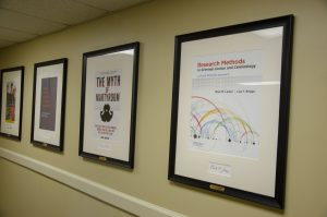 framed faculty book covers hanging on a wall