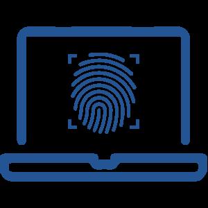 fingerprint on laptop icon