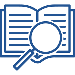 magnifying glass over open book icon