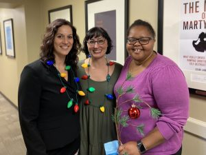 Criminology and criminal justice faculty at a holiday event